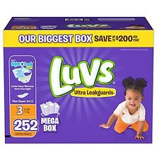 New 252ct Luvs Ultra Leakguard Disposable Baby Diapers Sz 3 (16-28 LB ) Save!!