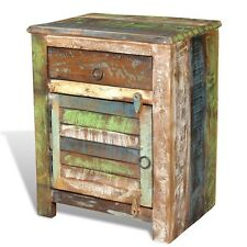 Reclaimed Solid Wood Vintage Bedside End Table 1 Drawer Cabinet Storage Handmade