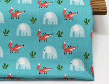 fox and elephant 100% Cotton Remnant  fabric 110 x 22.5cm fabric off cut b