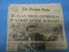 PRESIDENT RONALD REAGAN SHOT-MARCH31,1981 BOSTON GLOBE/JOHN HINKLEY GUNMANPAPER