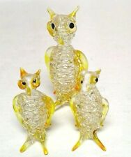 Vintage Murano Owl Bird Italian Art Glass Figures Figurines Yellow Clear Family
