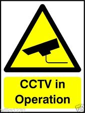 Self adhesive vinyl CCTV IN OPERATION signs, warning windows doors office shop