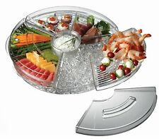 Rotating Finger Food Fruits Tray Party Server Cooler over Ice Crystal Set NEW