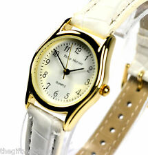 Philip Mercier Ladies White Quartz Watch with Faux Leather Strap,  Easy Read