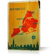 Metal Tin Sing NEW YORK MAP MANHATTAN SOUVENIR Retro Vintage Poster Decor Home