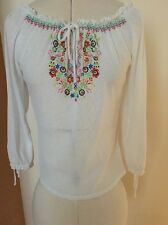 Vintage Hungarian Style Blouse Boho Festival Top, Embroidered Effect White
