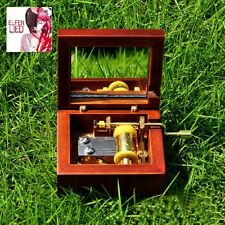 Antique Red Wood Hand Crank Mirror Music Box :  Elfen Lied - Lilium