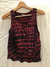 Sparkle and Fade Urban Outfitters red tie-dye button front crop tank Size Medium