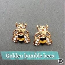 FREE GIFT BAG Bumble Bee Animal Insect Gold Plated Stud Earrings Cute Jewellery