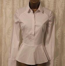 Karen Millen Edición Limitada Algodón A Medida Formal Ajuste Elástico Peplum Camisa 8 36