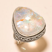 925 SILVER PRETTY DICHROIC GLASS GEMSTONE VINTAGE STYLE RING HANDMADE JEWELRY s9