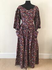 Droopy And Browns Vintage Maroon Dress Size 14 Frock Full Length Brown 70s 80s