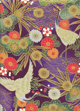 CRANES: Eggplant Purple/Gold Metallic Asian Japanese Quilt Fabric - 1/2 Yd.