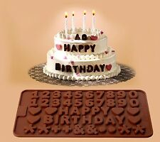 Happy Birthday Numbers Chocolate Mould Mold Fondant cake decorating topper