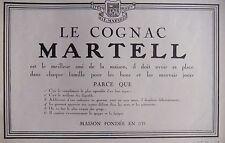 PUBLICITÉ 1925 LE COGNAC MARTELL MEILLEUR AMI DE LA MAISON - ADVERTISING
