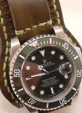 cinturino-Rolex & C-stile militare leather strap vintage-NO Fibbia-NO Orologio