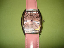 GREAT BRAND NEW SILVER / PINK FACE & LEATHER WRISTBAND BIJOUX TERNER WRIST WATCH