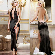 Sexy Womens Sheer Side Slit Lace Bodice Gown Long Dress Lingerie + G-string QS