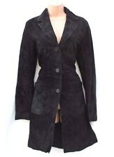 Black 100% Real Suede H&M Fitted Ladies Women's Jacket Coat size UK 10 / UK 12