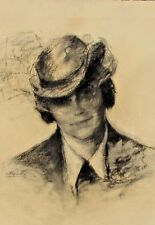 SALLY LUSTIG, Listed New York, Portrait of Stephanie, Circa 1930's Charcoal