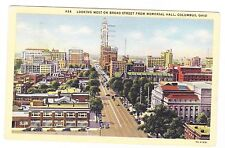 WEST ON BROAD STREET FROM MEMORIAL HALL-----COLUMBUS OHIO---------1947  POSTCARD