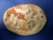 STUNNING ANTIQUE CARVED SHELL CAMEO MERCURY DELIVERING INFANT BACCHUS TO INO FOR