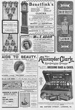 Edwardian Adverts; Dressing Bags, Clocks, Lavender Salts - Antique Advert 1905