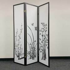 Legacy 3 Panels Room Divider Folding Screen Shoji Oriental Bamboo Floral Black