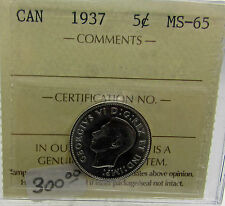 Canada 1937 5 Cents ICCS MS 65 King George VI  5 Cents Nickel
