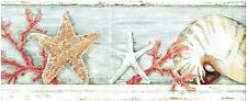 STARFISH CORAL AND SHELLS ON DISPLAY ON SHELF Wallpaper Wall bordeR decor