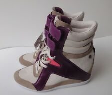 Reebok Leather Boots Wedge High Heel Trainers Tan/Purple Size-8.5M