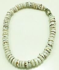 VINTAGE KONA ESTATE PUKA SHELL BRACELET BEADS ORIG CLASP HAWAII 70S WHITE BROWN