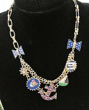 N558 BETSEY JOHNSON Anchor Wheel Sailor Buoys Charm Skull w/ Bow Necklace   US