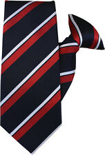Navy, Red and White Stripe Clip On Tie (JH-1001)