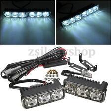 2PCS Universal 12V 3 LED High Power Car DRL Daytime Running Light Fog Lamp White