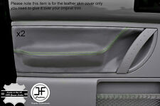 GREEN STITCH GREY LEATHER 2X FRONT DOOR CARD TRIM  COVERS FITS VW BEETLE 98-11