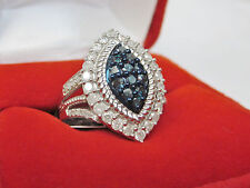 1 CT Genuine Marquise Shape Blue & White Diamond Cocktail Frame Ring Silver Sz 7