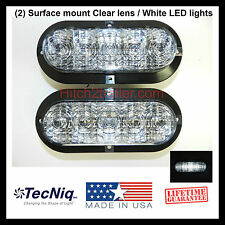 """2 - 6"""" Oval CLEAR WHITE LED Utility/reverse Light Surface Mount Trailer Truck"""