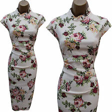 KAREN MILLEN Cream Vintage Roses Floral Oriental Cocktail Wiggle Dress 8 UK