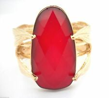 New Woman's Bracelet Leaves Cuff Red Large Cut Lucite Stone