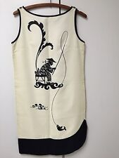 VINTAGE  Alfred Shaheen Printed Dress, NEVER WORN!!!!!!!!! ASIAN FISHERMAN, SZ 8