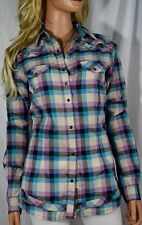 NWT ROCK 47 by WRANGLER Long Live Cowgirl Purple Plaid Long Sleeve Shirt Small
