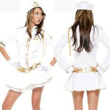 Ladies Woman Sailor Naval  Uniform Fancy Dress Costume Sea Captain Costume