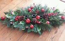 CHRISTMAS ARRANGEMENT TABLE CENTRE PIECE 70cm LONG.TAKES 3 DINNER CANDLES.APPLES