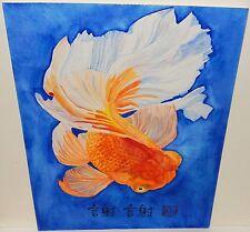 M.CHOW ORIGINAL WATERCOLOR KOI FISH PAINTING