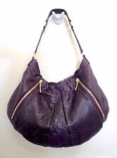 TORY BURCH ZIPPERED Pocket PLEATED Eggplant PURPLE Leather Shoulder Bag EUC!