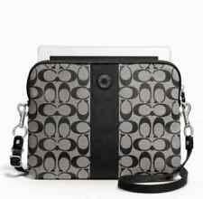 NWT) COACH 63219 SIGNATURE STRIPE TABLET CROSSBODY / BLACK
