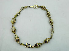 "Egyptian Sterling Silver Ankh Scarab Bracelet 8.75"" Long # 217"