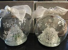 Vint 2 CHRISTMAS TREE ORNAMENTS Crystal Angel In Glass Ball*