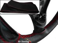 Per FIAT NUOVA 500 07-15 vera pelle nera Volante Copertura Rosso Stitch